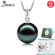 90% OFF! Sent Silver Certificate! LMNZB Original 925 Solid Silver Natural Pearl Pendant Necklace Wedding Jewelry for Women ZSN07(China)