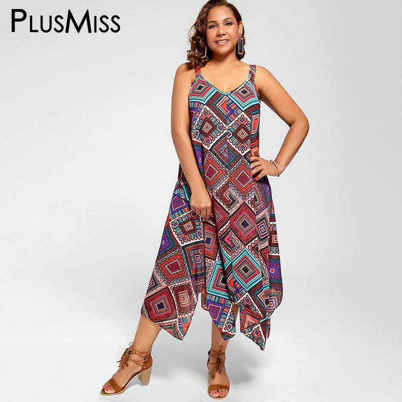 Plus Size 5xl Spaghetti Strap Geometric Print Ethnic Summer Women Dress  Beach Boho Chiffon Maxi Long b7a04393eee1