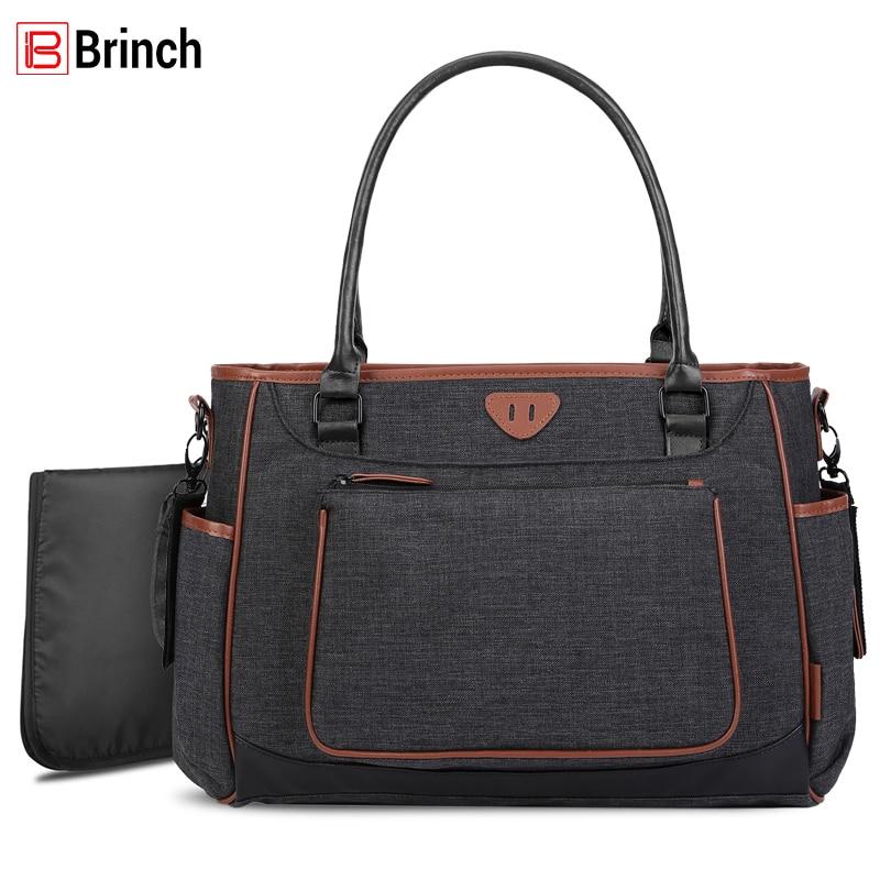 BRINCH Baby Diaper Bag Fashion Large Capacity Waterproof Stroller Bag Multi-function Maternity Mummy Bag For Baby Care Bolsa