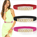 New 2015 Woman Gold Belts With Metal Buckle High Quality Female Fashion Elastic Waistband Skinny Chain Belt