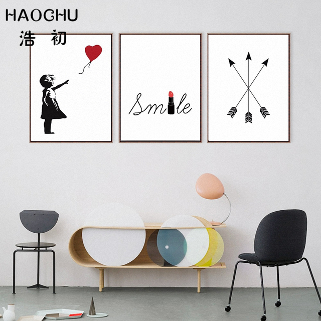 Us 7 65 Haochu Modern Bansky Street Art Graffiti Balloon Girl Abstract Love Quotes Wall Pictures Canvas Painting Restaurant Home Decor In Painting