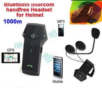 1 Pair 1000m Waterproof Full Duplex Bluetooth Intercom Motorcycle And Ski Helmet Headsets Hand Free Hand phone With NFC