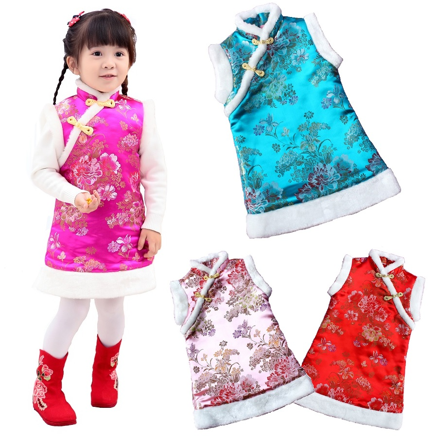 Peony Baby Girl Coat Dress Quilted Children Waistcoat Outerwear Festival Costumes Winter Girls Clothes Chi-Pao Dresses Outfits