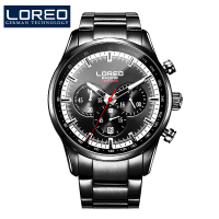 Top Brand Luxury LOREO Men Watches Luminous Black Full Stainless Steel Waterproof Calendar Casual Fashion Men