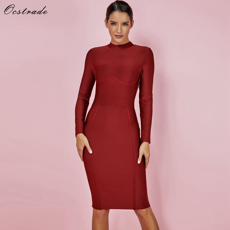 Ocstrade Fashion Bandage Dress New Autumn and Winter Women Fashions 2019 Sexy High Neck Wine Red Long Sleeve