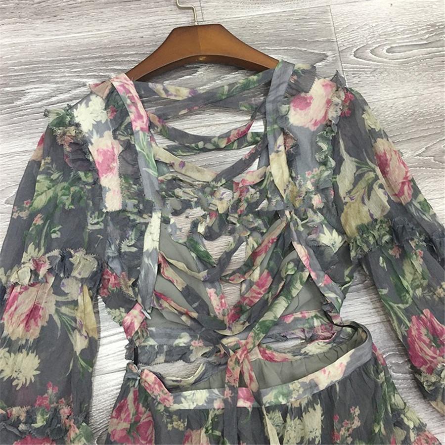 18 Autumn New Arrival Designer Women Mini-dress 100%silk Fabric Long Sleeve Flower Print Grey Sexy Backless V-neck Dress 2
