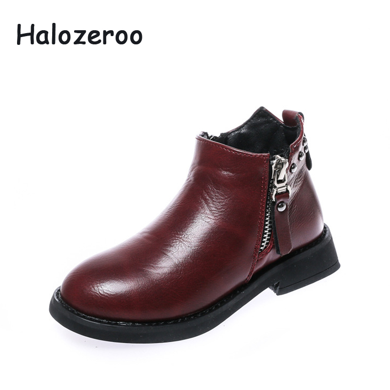 Halozeroo New Winter Baby Girl Pu Leather Ankle Boots Children Warm Shoes Kid Brand Black Shoes Toddler Boy Soft Rivet ShoesHalozeroo New Winter Baby Girl Pu Leather Ankle Boots Children Warm Shoes Kid Brand Black Shoes Toddler Boy Soft Rivet Shoes