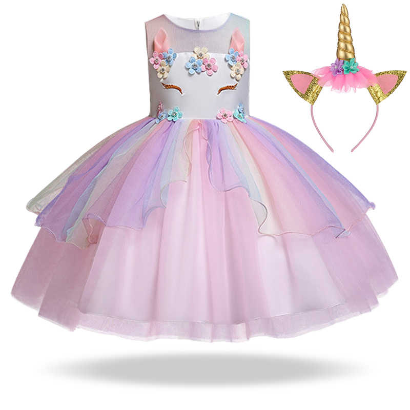 New 2019 Summer Girl Clothes Unicorn Party Dress Easter Carnival Wedding  Kids Dresses For Girls Clothing 7be7c716a018