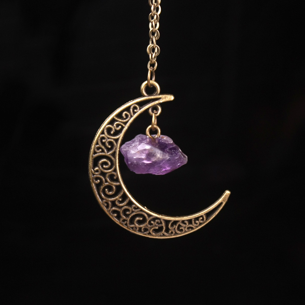 Vintage Galaxy Moon Crystal Crescent Purple Ancient Bronze Purple Pink Quartz Natural Stone Opal transparant Necklace Pendants