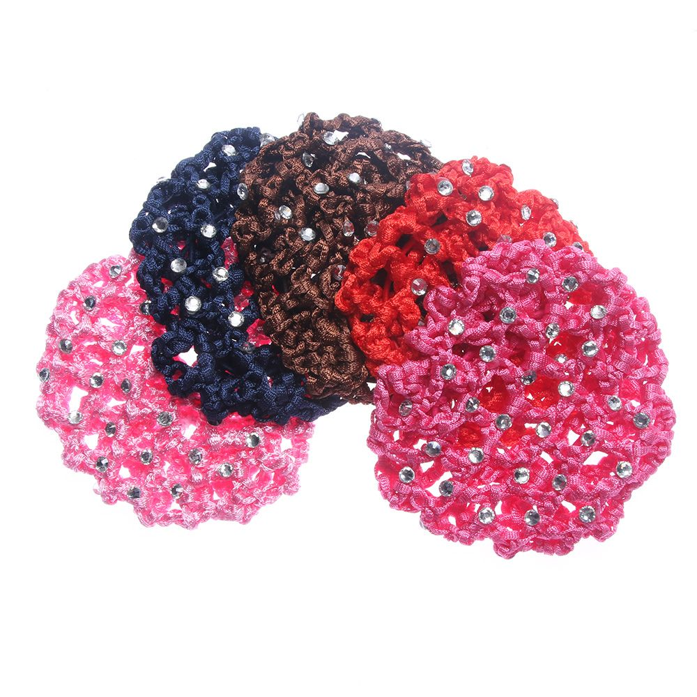 Hot Fashion Women Bun Cover Snood Hair Net Ballet Dance Skating Crochet Chic Rhinestone Hairnets Accessories