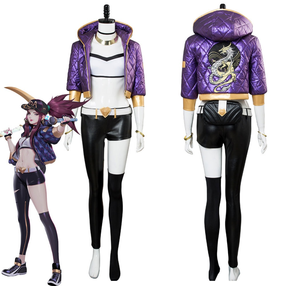 LOL Cosplay The Rogue Assassin K/DA Akali Cosplay Costume Outfit Suit Halloween Carnival Costumes