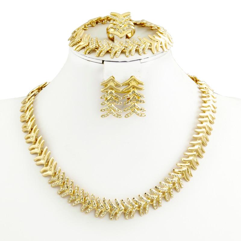 2017 Dubai Gold Plated Jewelry Sets African Beads Crystal Bridal Jewellery Set Nigerian Wedding Austria Rhinestone Jewelry