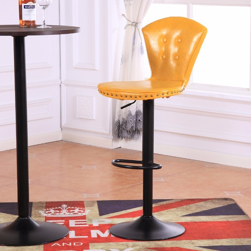 yellow color pu leather bar stool haircut salon free shipping flannel seat coffee bedroom shop chair