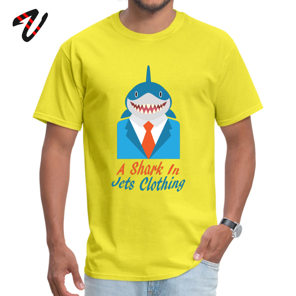 cosie Normal Short Sleeve Tops Shirt Summer O-Neck 100% Cotton Fabric Mens Top T-shirts Normal T Shirt Brand New A Shark In Jets Clothing 2375 yellow