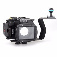 Meikon 40m/130ft Underwater Diving Camera Waterproof Housing Cases for Sony WX500+Aluminium Diving handle Free Shipping