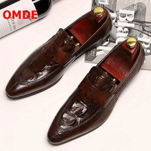 OMDE New Fashion Leather Shoes Men Pointed Toe Formal Shoes Luxury Slip On Crocodile Pattern Mens Wedding Shoes Italy Style 2017 new black red mens oxfords crocodile pattern slip on pointed toe genuine leather business formal men wedding shoes