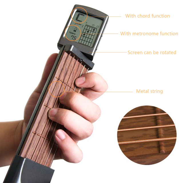 סולו נייד גיטרה אקורד מאמן כיס בפועל גיטרה כלים LCD מוסיקלי כלי מיתר אקורד מאמן כלים למתחילים