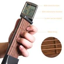 Solo portátil guitarra acord trainer bolso ferramentas de prática de guitarra lcd instrumento de cordas musicais acord trainer ferramentas para iniciante