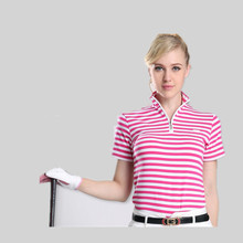 Camisetas Mujer Polo Golf Shirts Pgm Clothing Ladies Ball Gown British Style Short-sleeved T-shirt Stripe Comfortable Fabrics