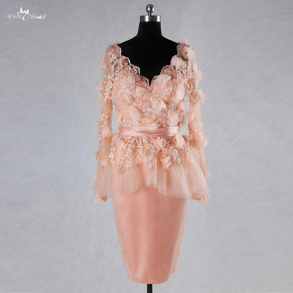 RSE728 V Neckline Peplum Tight Skirt Dusty Pink Floral Long Sleeve Lace Blush Pink Short Wedding Dress