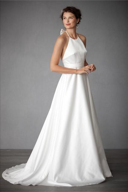 Designer Swan Wedding Dress Empire Bride Gown Elegant Backless A Line