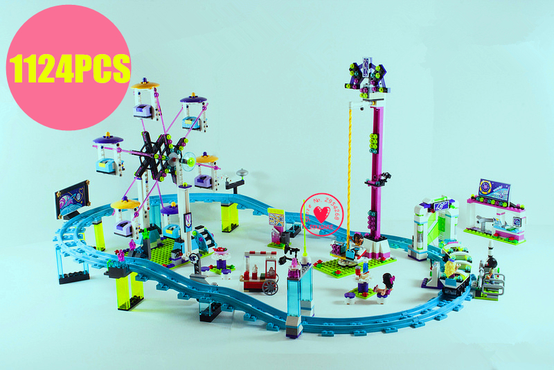 New Amusement Park Roller Coaster fit legoings friends figures girls Building Blocks Bricks girls diy Toys fit 41130 gift kid 2018 new friends model building blocks toys snow resort chalet kid bricks toy girls 41323 compatible legoes friends gift kid set
