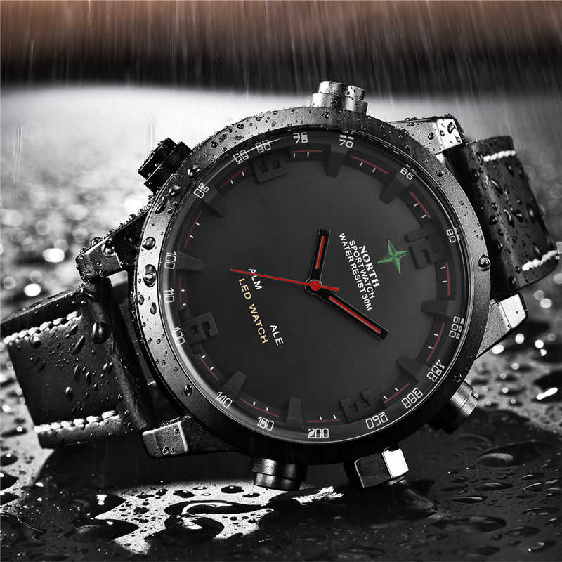 2019 NORTH Men's Fashion Sport Watches Men Quartz Analog Date Clock Male Leather Military Waterproof Watch Relogio Masculino