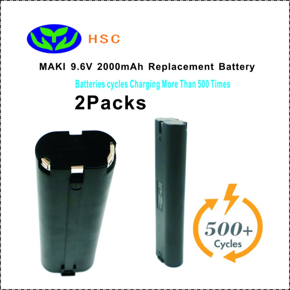 2PCS 2000mAh Rechargeable Battery Pack Mak9 6S NiCD Battery 9 6V Replacement Maki 191681 2 193890