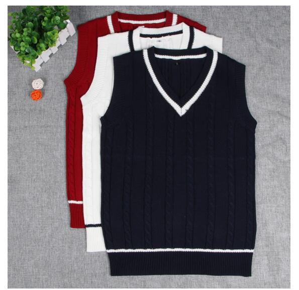 2019  School Uniform Sweaters Vest For Girls Boys British Student Uniforms V- Neck Vest Sweaters Tank Top
