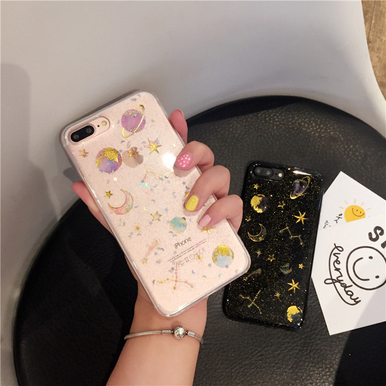 Bling Glitter Star Moon Phone Iphone6 6S 7 8 Plus Clear Back Cover Flash Powder Apple For Iphone X Case Fundas