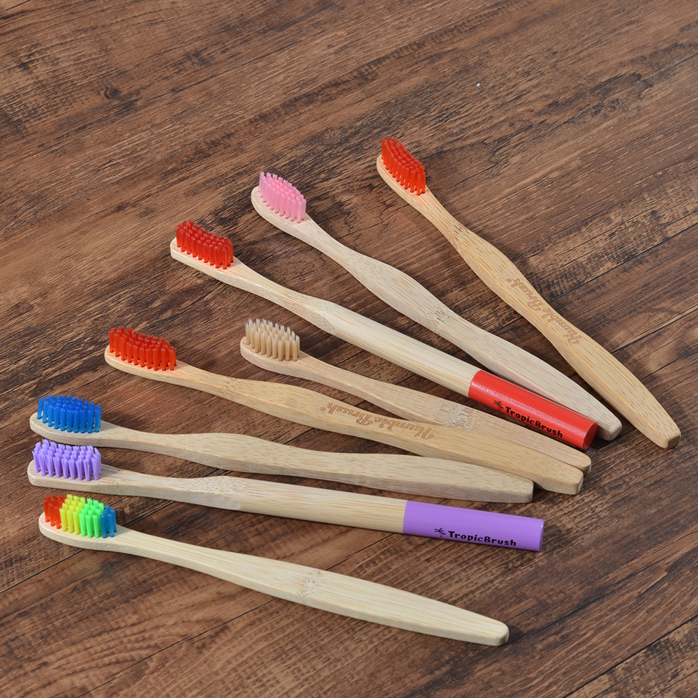 Random Toothbrush1PC Plastic-Free Bamboo Handle Toothbrush Colorful Soft Bristles Bamboo Toothbrush Eco-friendly Oral Care