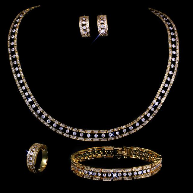 Nuevo de Las Mujeres Joyería de La boda Establece chapado en oro con circón cúbico 4 unids conjuntos (collar + pulsera + pendientes + ring) envío libre