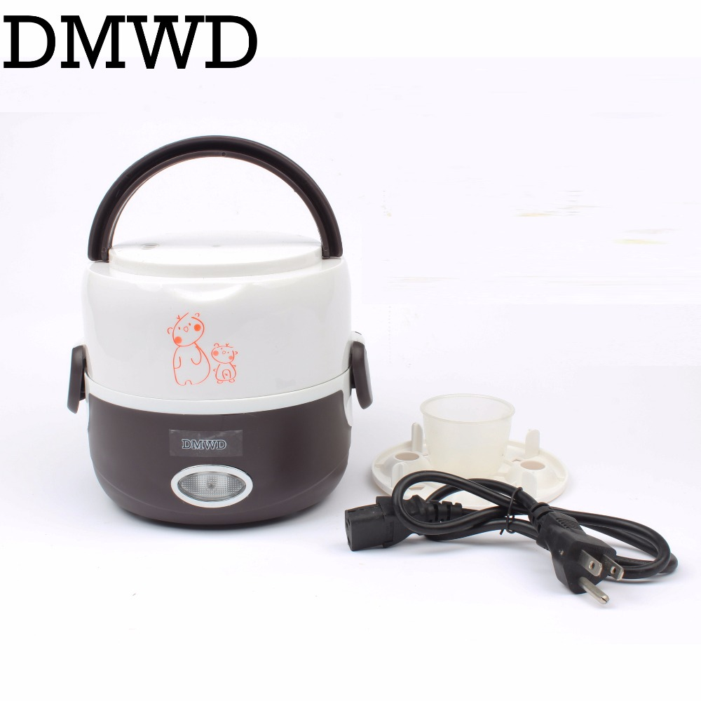 DMWD Electric Rice Cooker Multifunction food Thermal Lunch Box Warmer Stainless Steel Liner Container egg steamer 1.3L 110V 220V