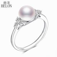 HELON Solid 14 К (AU585) белое золото сертифицированы круглый из натуральной пресноводный жемчуг Алмазы обручальные кольцо для женщин классический