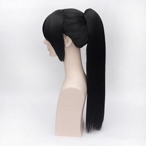Image 4 - Hakuouki Yukimura Chizuru קוספליי פאות עבור נשים גבר יוניסקס סינטטי שיער פאה 60 cm ארוך ישר קוקו שחור משלוח חינם