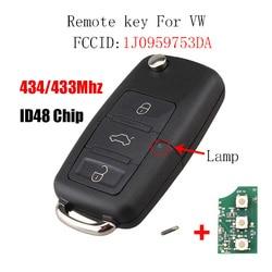 3Button Remote Key for VW SKODA Seat 1J0959753DA Roomster Fabia Superb Car Keys Remote Control 434MHz 48Chip 1J0 959 753 DA