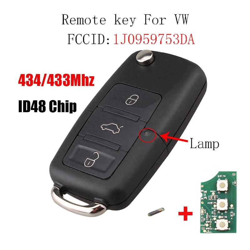 Clé à distance 3 boutons pour VW SKODA Seat 1J0959753DA Roomster Fabia superbes clés de voiture télécommande 434 MHz 48 puce 1J0 959 753 DA