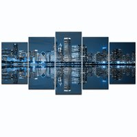Chicago Downtown at Night Picture Canvas Print Modern City Wall Art 5 Panels Oil Painting Drop shipping