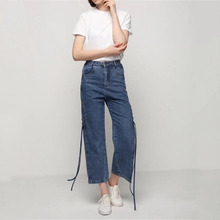2017 European Solid Blue Women Split Lace-up Jeans Denim Straight Pants High Waist Casual Full Length Loose Trousers Female L838