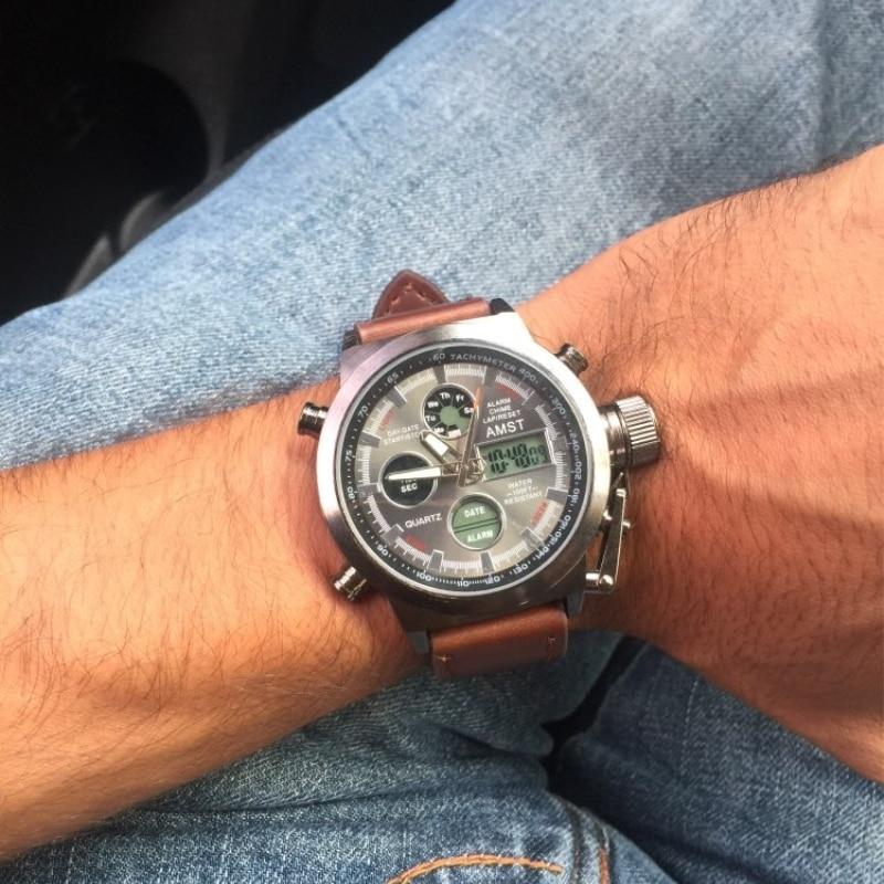 AMST Relojes militares Dive 50M Nylon y correa de cuero Relojes LED - Relojes para hombres - foto 6