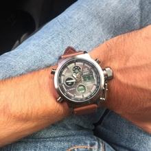 AMST Military Zegarki Dive 50M nylon amp skórzany pasek LED zegarki męskie najlepsze marki luksusowe kwarcowe zegarek Reloj hombre Relogio męski tanie tanio Quartz Wristwatches 22mm Sport Kompletny kalendarz odporny na wstrząsy świecące ręce stop Watch wyświetlacz LED anty-magnetyczny Auto Data tydzień wyświetlacz wodoodporny nurek tylne światło chronograf wiele stref czasowych pływać alarm Luminous wieczny kalendarz