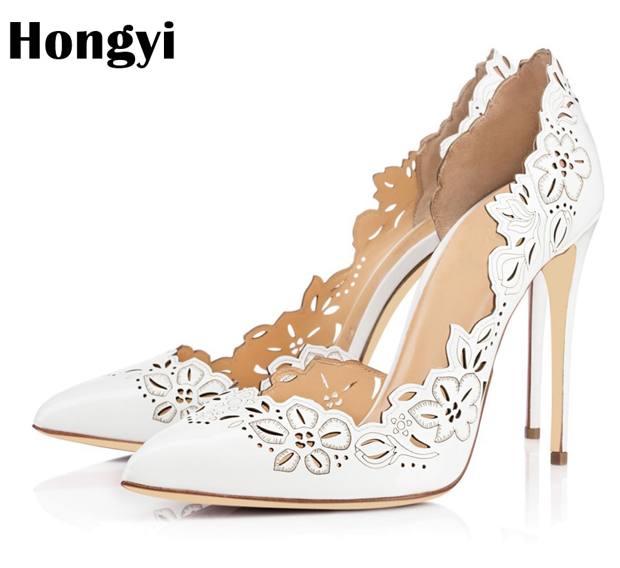 Hongyi Designer Laser Cut-Outs Women Sandals White Printing High Heels Summer Shoes Woman Pumps Sexy Pointed Toe Sandalias Mujer square design white laser cut invitations kit blanl paper printing wedding invitation card set send envelope casamento convite