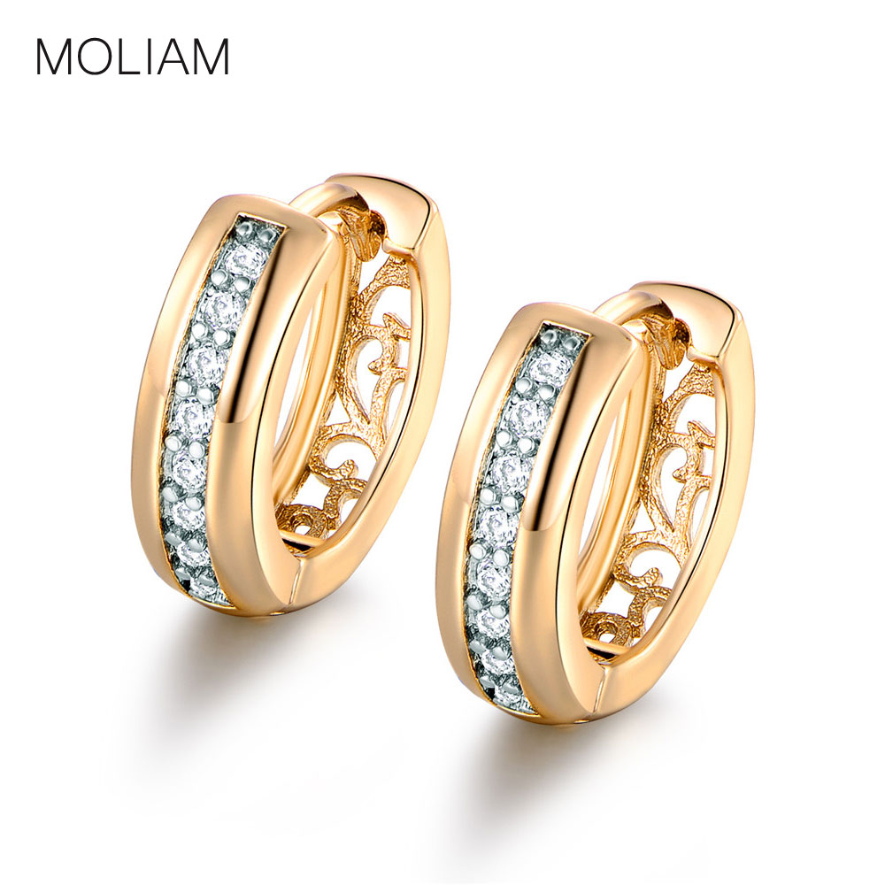 MOLIAM Classic Small Earrings for Women Round White Crystal Cubic Zirconia Hoop Huggies Earring With AAA CZ Stone Earing E111