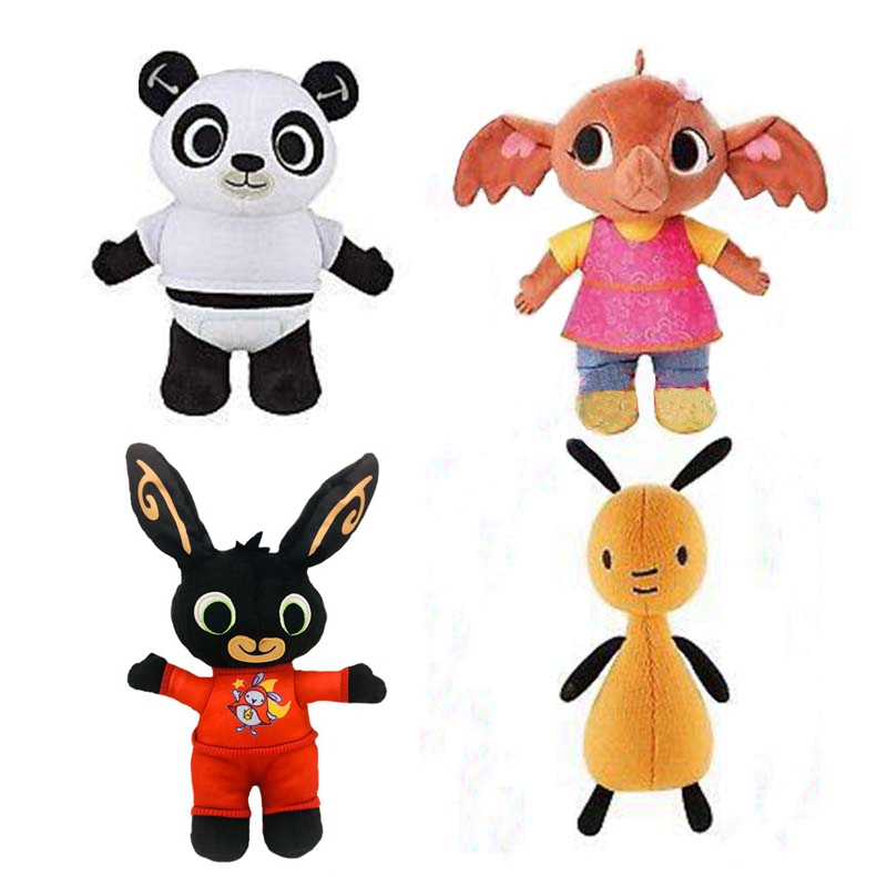 4pcs /lot Bing Bunny Rabbit Panda Stuffed Animal  Plush Soft Doll Toys For Children Kids Christmas Gift