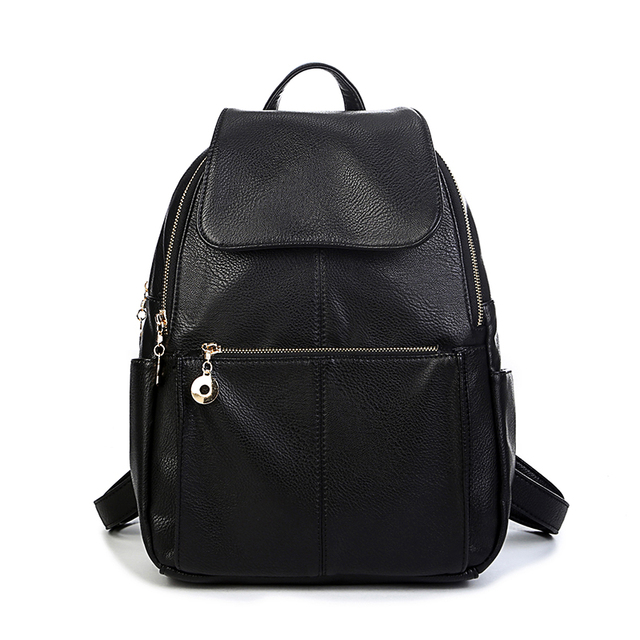 2018 Women Leather backpacks Casual school bags for teenage girls big size  lady travel backpack College Students Black color bag