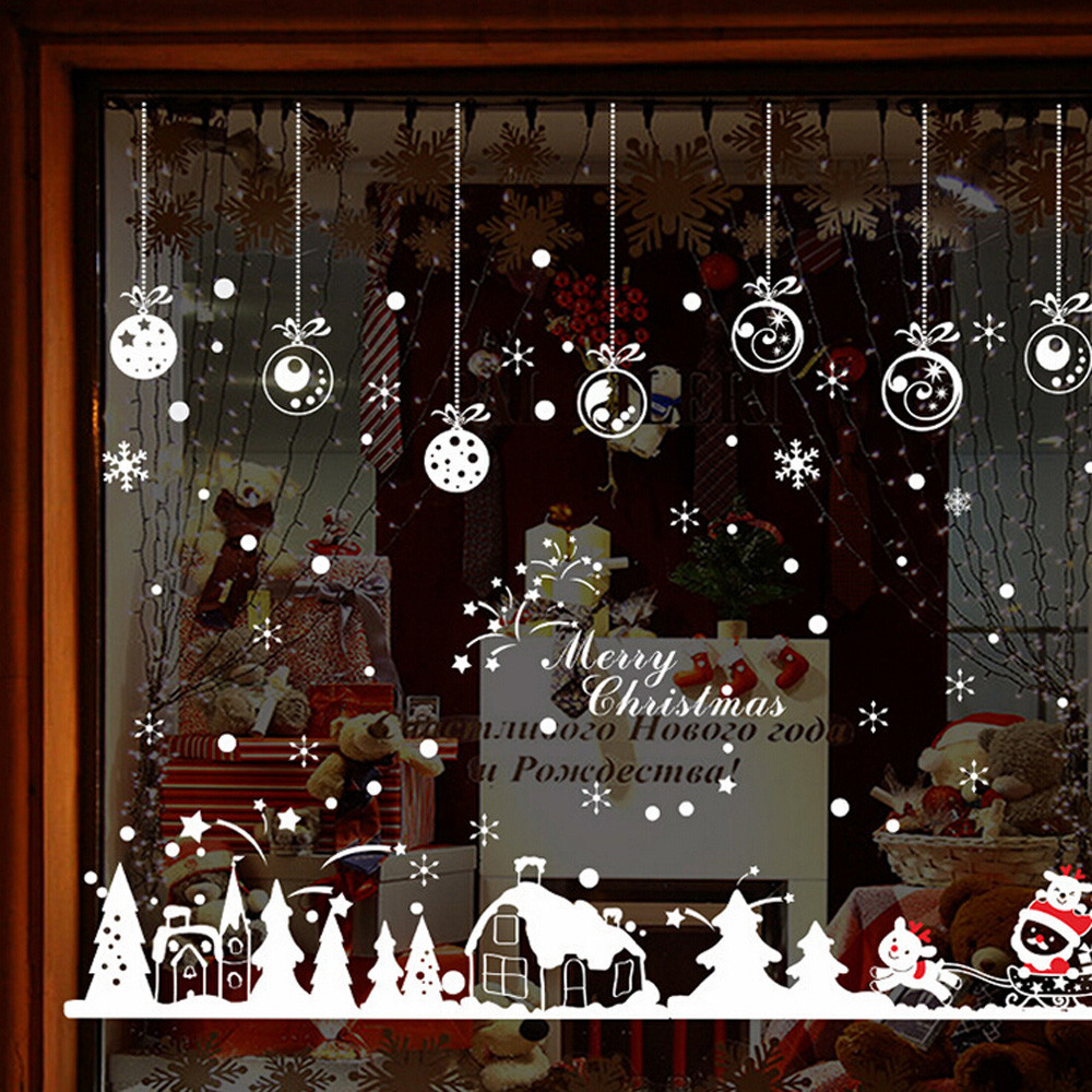 Us 477 10 Offhot Sale Kabin Snowflake Wall Stiker Selamat Dekorasi Natal Decal Jendela Sticker Depan Room Decor Untuk Toko Cafe Pintu Decor In