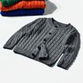 New Children's Children's Wear Knitted Long-sleeved Cardigan Cotton Twist Fashion Girls And Boys Baby Sweater
