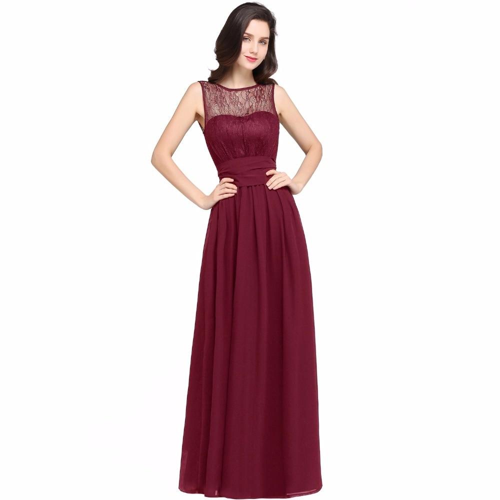 Chiffon Čipka Mint Zelená družička šaty Long 2017 A Line O krk - Šaty pro svatební hostiny - Fotografie 4