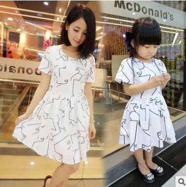 2016 Mother Daughter Dresses Family Matching Clothing Girls Dress Sleeveless Formal Print A-line Dress Summer Kid free shipping