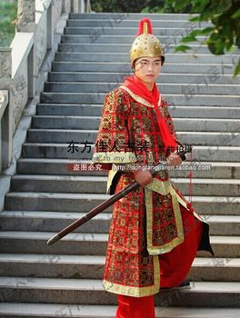 General Hanfu Tang Dynasty Soldier with Armour  Costume for Stage Performance  Red Color